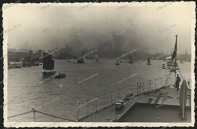 Old Photo-Shanghai-China-Harbor-Port-German Battelship-