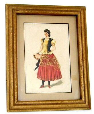 Victorian Gypsy Tambourine Coins on Dress Framed Watercolor
