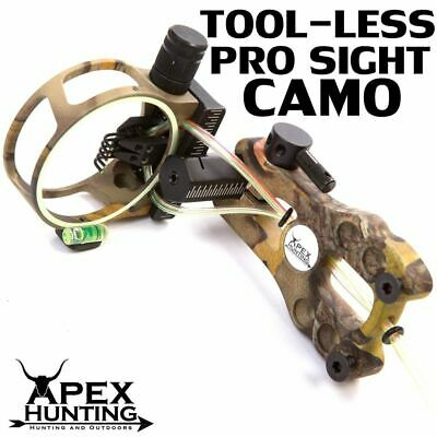 CAMO TOOL-LESS PRO SIGHT 5-PIN FIBRE OPTIC SIGHT FOR COMPOUND BOW w/ LED LIGHT