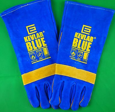 Genuine Kevlar Blue Glove Welding Gloves Denim lined Stitched Glove LARGE