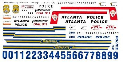 Atlanta - Indianapolis - Memphis Police 1/25th - 1/24th Scale Waterslide Decals