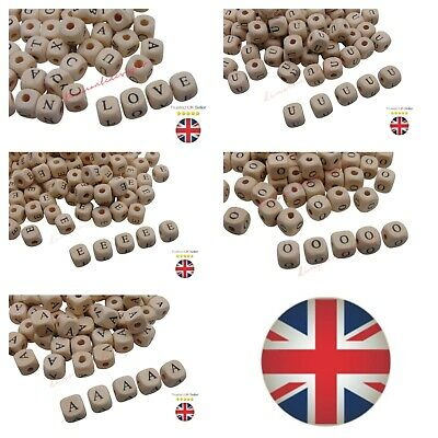 50 Pcs 10mm Natural Beige Colour Letter Cube Wooden Beads Kids Learning Vowels