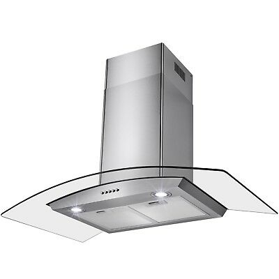"36"" Push Buttons LED Light Lamp Stainless Steel Wall Mount Range Hood"