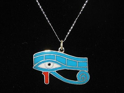 Egyptian 925 Sterling Silver Big Eye Of Horus Pendant W. Long Chain