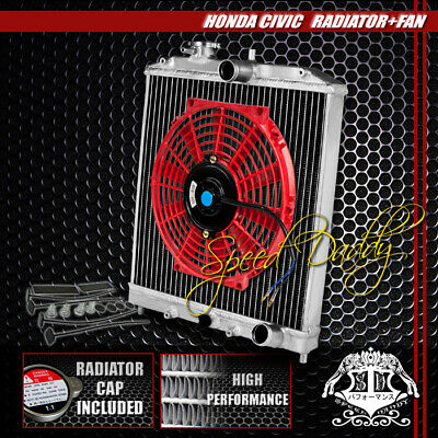 "2Row Full Aluminum Racing Radiator+10""red Fan 92-00 Civic Ej/ek/eg/integra Db Dc"