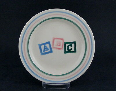 "Vintage Pottery Baby Plate w A B C Block in the Center, 7 3/4"" dia"