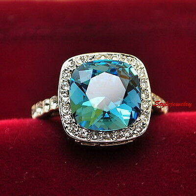 White Gold Plated Blue Topaz Engagement Ring Made With Swarovski Crystal R154