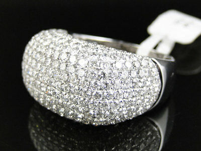 14K White Gold Mens High End Round Cut Vs Pave 3D Diamond Pinky Band Ring 7.5 Ct