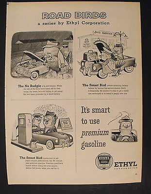 1956 Ethyl Gasoline Oddball Roadbirds Owl Cartoon Smart Bird Battery Promo Ad