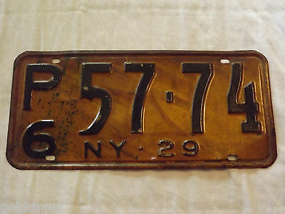 VINTAGE OLD CAR 1929  NY  NEW YORK  STATE   LICENSE PLATE