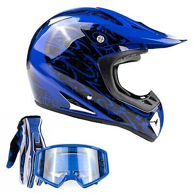 Adult Motocross Helmet with gloves and goggles Blue dirt bike MX Off Road ATV