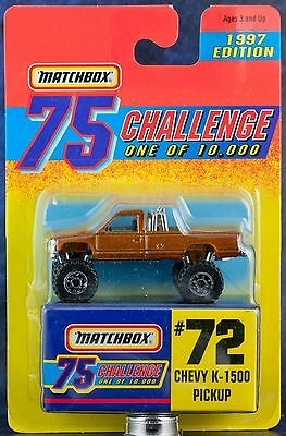 Matchbox MB 72 Chevy K-1500 Pickup Gold 75 Challenge 1997 Edition Mint On Card