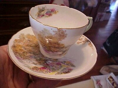 """HEATHER "" SHELLEY CUP & SAUCER, #13419, GAINSBOROUGH, SCALLOPED, ENGLAND"