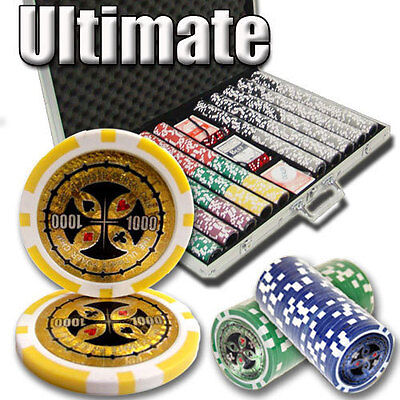Ultimate 1000pc 14 Gram Poker Chip Set w/Aluminum Case