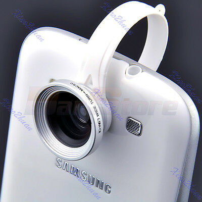 Silver Clip Wide Fish Eye Macro Lens 180°Detachable For iPhone Galaxy HTC