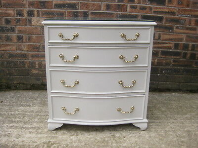 VINTAGE MAHOGANY SERPENTINE FRONTED CHEST 4 DRAWERS /  PAVILLION GRAY/ 2FT WIDE
