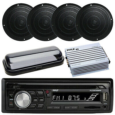 Pyle Marine AM/FM Radio Stereo System & Bluetooth & Cover + 800W Amp 4 Speakers