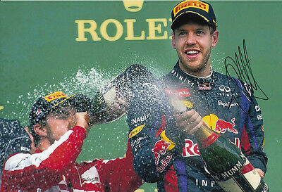 Sebastian Vettel F1 World Champion Hand Signed 2013 Red Bull Photo 12x8 Podium 3