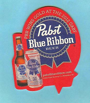 PABST BLUE RIBBON BEER COASTER *** PBR WINS GOLD AT THE 2012 Great American Beer