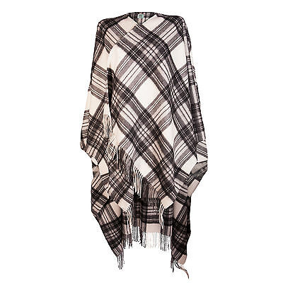EDINBURGH CASHMERE 100% Luxury Cashmere Ladies Cape Tartan Stewart Grey Dress