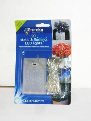 New Set 20 Warm White LED Battery Operated Christmas Lights Static / Flashing