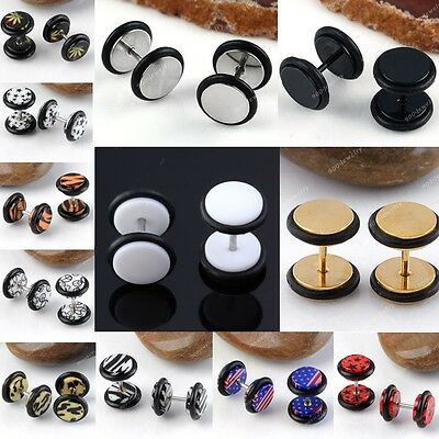 Punk Acrylic/Stainless Steel Round Barbell Fake Cheater Ear Plug Earrings 18g