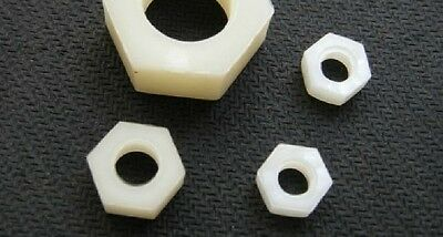 100pcs Metric Nylon Hex Nut Plastic Hexagon Nut M2 M2.5 M3 M4 M5 M6 M8 M10 M12