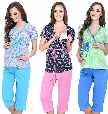 Maternity nursing 100% cotton 2-peace Pyjama Set size 8 10 12 14  breastfeeding