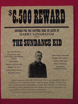 The Sundance Kid (Harry Longbaugh) Wanted Poster REPRODUCTION