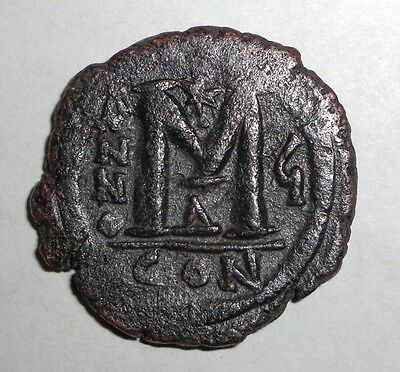 Ancient Byzantine Empire, Justin II & Sophia, 565 - 578 AD. AE-Follis.