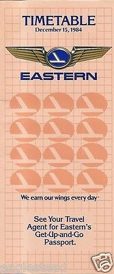 Airline Timetable - Eastern - 15/12/84