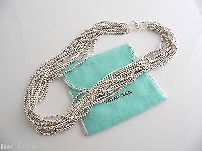 Tiffany & Co Silver Bead Ball 10 Strand Hook Clasp 18 Inch Chain Excellent Rare!