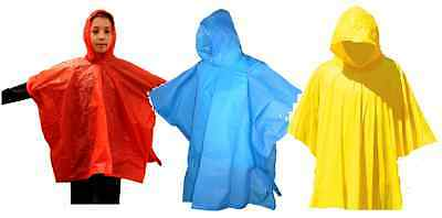 Childs Kids Emergency Waterproof Hooded Poncho Rain Coat Mac Ry415