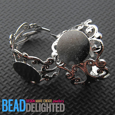4 Silver Plated Filigree Ring Blanks Bases Metal Cabochon Rings Findings