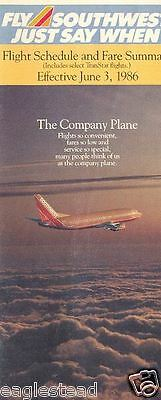 Airline Timetable - Southwest - 03/06/86