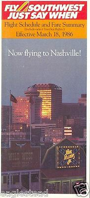 Airline Timetable - Southwest - 18/03/86 - Now to Nashville