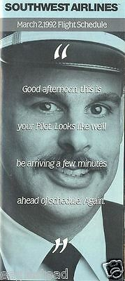 Airline Timetable - Southwest - 02/03/92 - Pilot