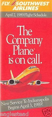 Airline Timetable - Southwest - 02/04/89 - New to Indianapolis