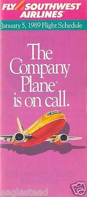 Airline Timetable - Southwest - 05/01/89