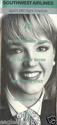 Airline Timetable - Southwest - 05/04/92 - Customer Service Agent
