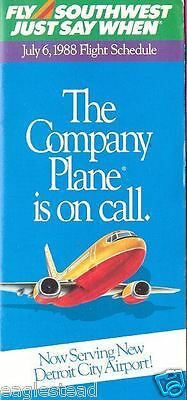 Airline Timetable - Southwest - 06/07/88 - Now to Detroit City Airport