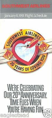 Airline Timetable - Southwest - 08/01/91 - 20 Years of Loving You Anniversary