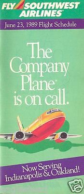 Airline Timetable - Southwest - 23/06/89 - Now to Indianapolis & Oakland