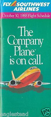 Airline Timetable - Southwest - 30/10/88