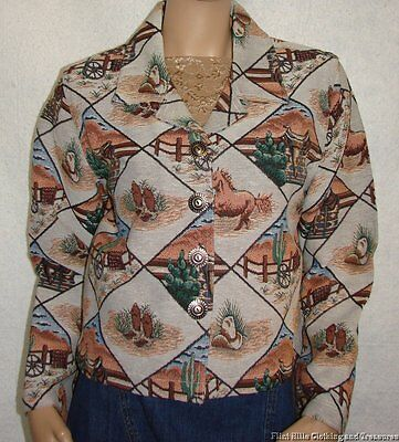 "NWT Don't Mess With Texas Western Tapestry Jacket Blazer Size M Bust 36-38"" New"