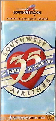 Airline Timetable - Southwest - 05/02/06 - 35 years of Luvin' You Anniversary