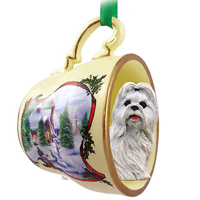 Shih Tzu Dog Christmas Holiday Teacup Ornament Figurine White