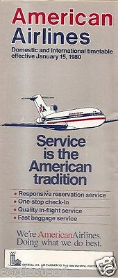 Airline Timetable - American - 15/01/80 - B727 Cover