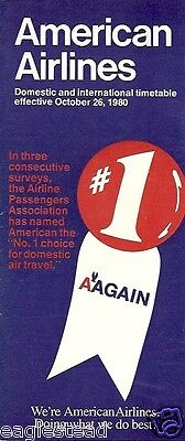 Airline Timetable - American - 26/10/80