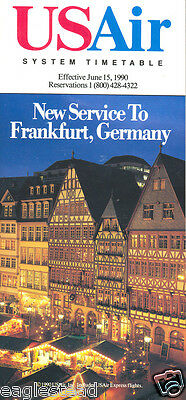 Airline Timetable - US Air - 15/06/90 - New to Frankfurt